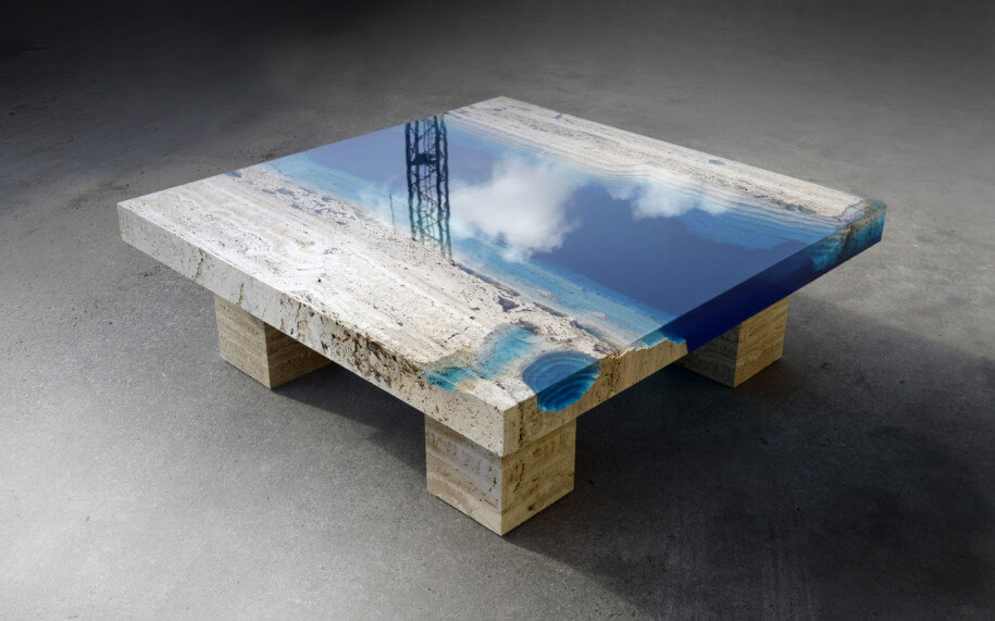 New Handmade Lagoon Tables Made From Resin And Cut Travertine Marble